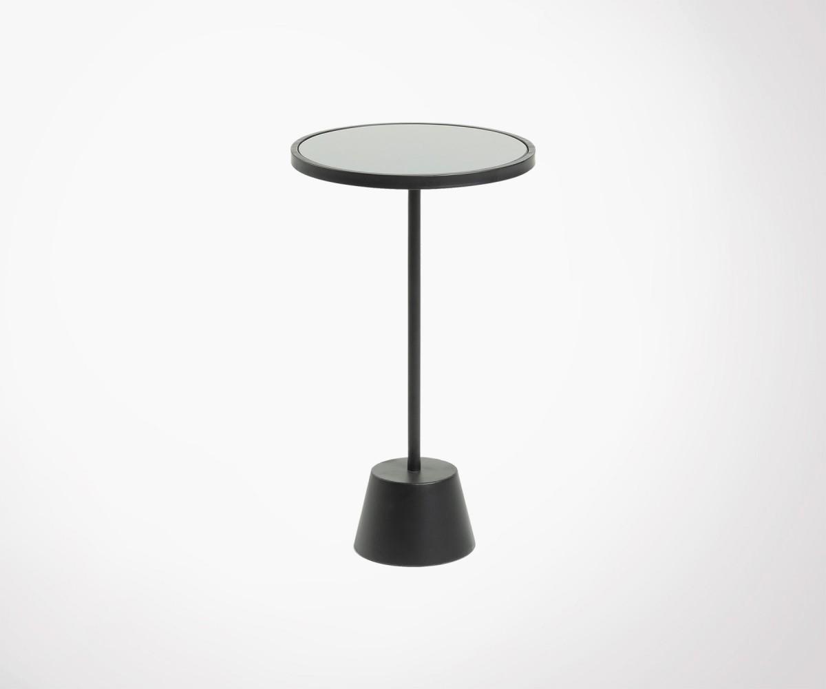 Petite Table D Appoint 35cm Metal Et Verre Noir Style Moderne