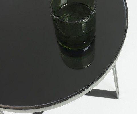 Table d'appoint design métal noir et verre MYRAMAS