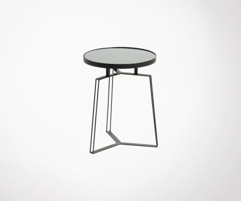 Side table design metal and black glass MYRAMAS