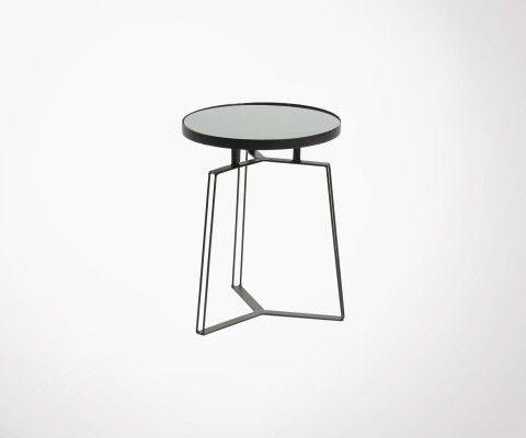 Table d'appoint design métal et verre noir MYRAMAS
