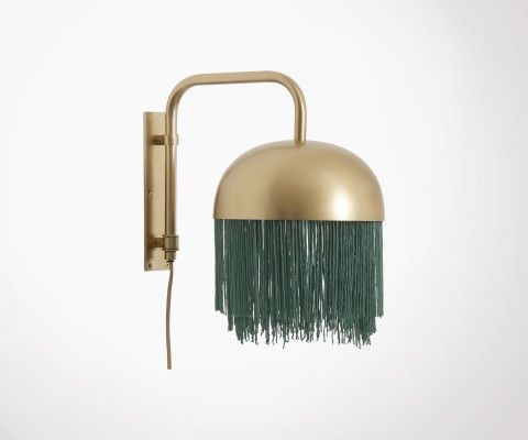 Green fringes brass wall light OLLIE - Nordal