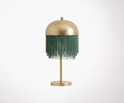 Design table lamp brass green fringes OLLIE - Nordal