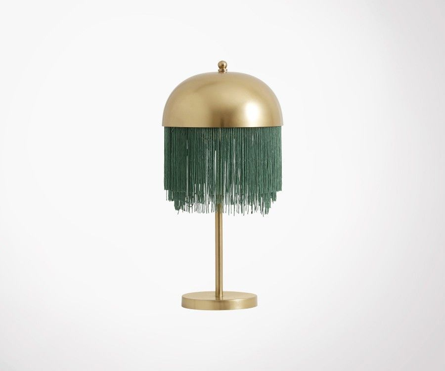 Lampe à poser design laiton franges vertes OLLIE - Nordal