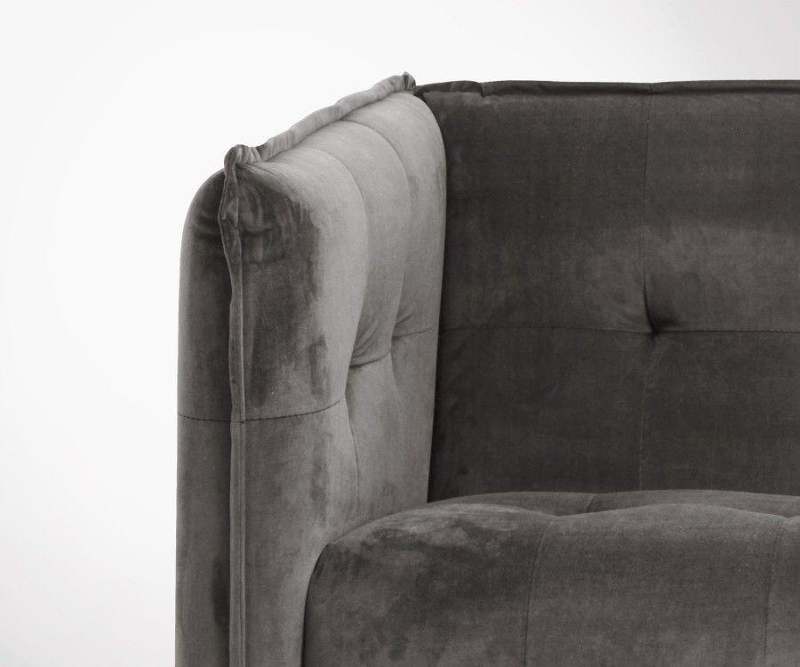 Petit canapé 2 places velours gris taupe LUK - Nordal