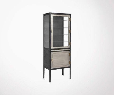 2-door high cabinet in gray metal FISK - Nordal
