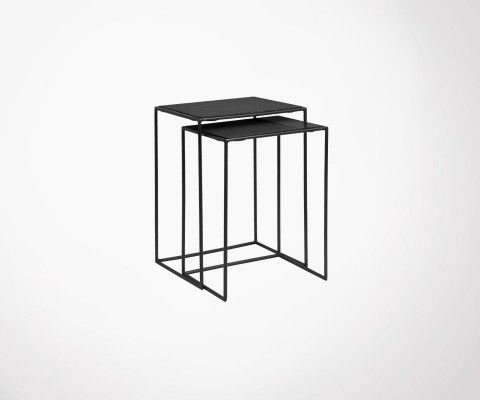 Nesting tables black metal and marble BRASSORK - Nordal