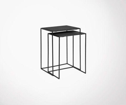 Tables gigognes métal noir et marbre BRASSORK - Nordal