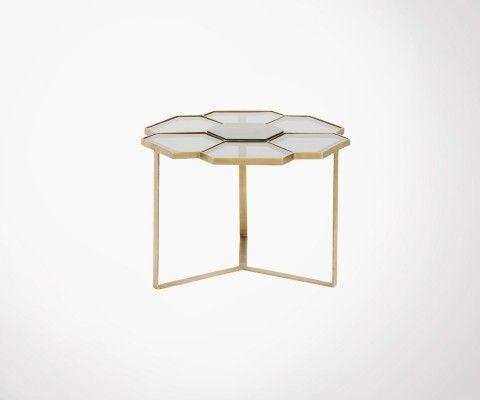 Table basse laiton verre 60cm FLEURS - Nordal