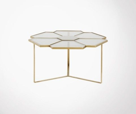 Coffee table 90cm brass glass FLEURS - Nordal