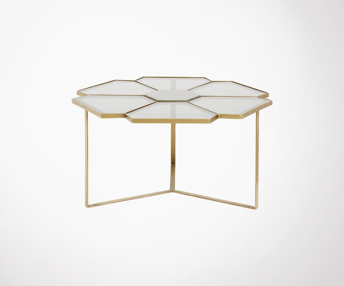 Table Basse Ronde Art Deco table basse 90cm laiton verre marbre style art déco marque