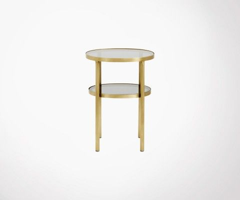Petite table d'appoint ovale laiton verre DOKOTA - Nordal