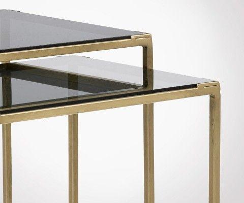 Tables gigognes métal doré et verre noir fumé BRASSORK - Nordal