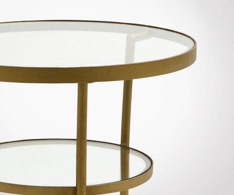 Petite table basse ronde laiton verre ABBYGAELLE - Nordal
