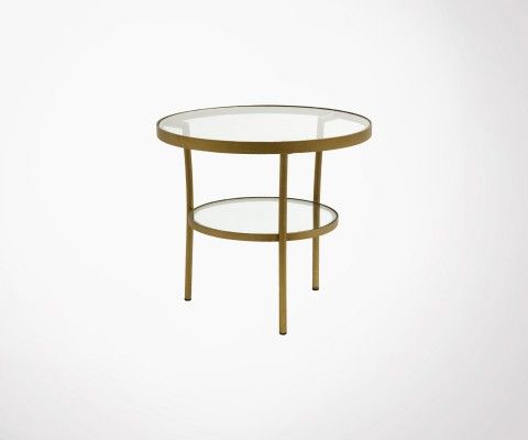 Petite table basse ronde laiton verre ABBYGAELLE - Nordal