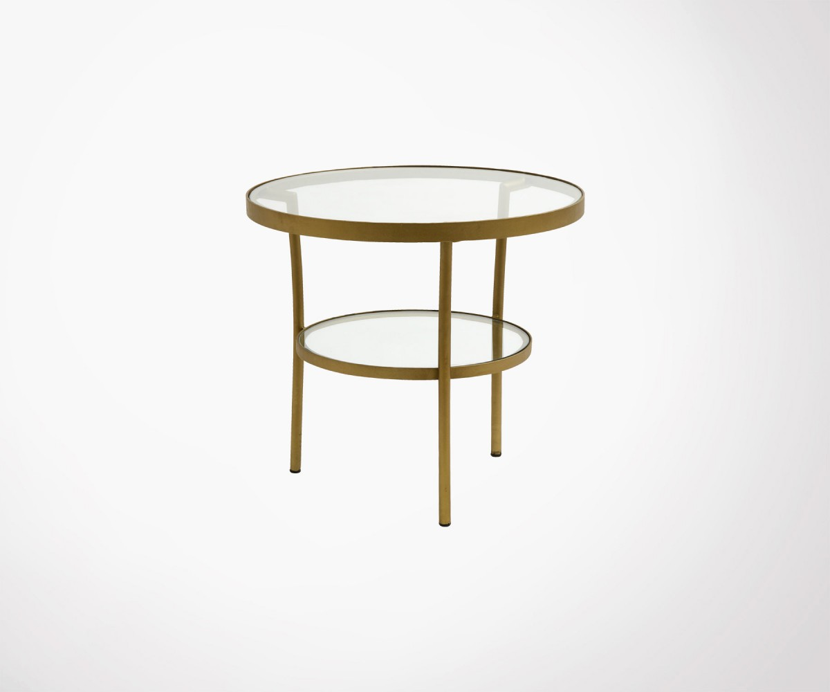 Petite Table Basse Ronde Laiton Verre Abbygaelle Nordal